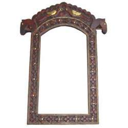 Horse Photo Frame Carving & Brass Worked