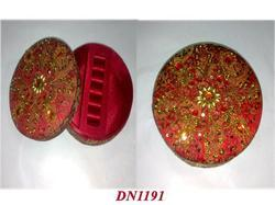 Fabric Covered Round Boxes With Embroidery