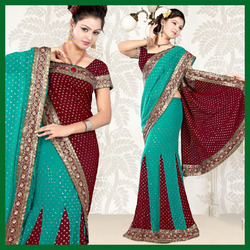 Turquoise And Maroon Lehenga Style Saree (49)