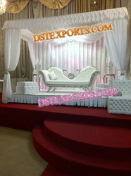 Latest Asian Wedding Silver Carved Sofa