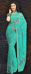 Pure Georgette Designer Saree With Blouse