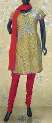 Pure Fancy Cotton Pre Stitched Salwar-Kameez