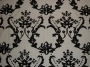 Crewel Fabric Bloom Black On White Cotton Duck