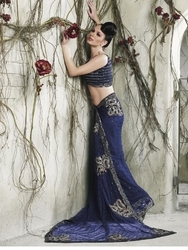 Sareegalaxy - Purple Net Saree With Blouse