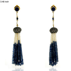 Designer Blue Sapphire & Pearl Tassel Earrings