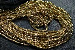 Golden Pyrite Faceted Rondelles Briolettes