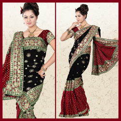 Maroon Viscose Saree With Blouse (19)