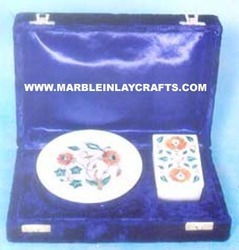marble plate and box gift set
