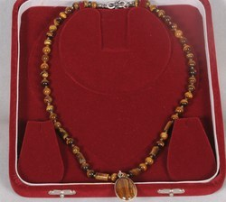 Tiger Eye Beads and Pendant Necklace