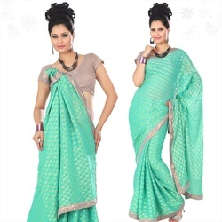 Enchanting Turquoise Viscose Saree With Blouse