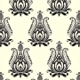 Crewel Fabric Blooms Black on Off White Cotton Duck