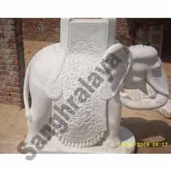 Elephant With Carving Statue