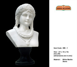 Lady With Necklace Marble Stone Mini Bust Statues
