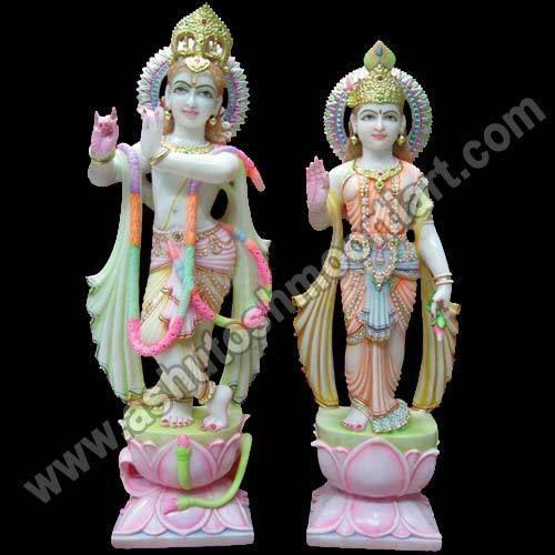 Radha Krishna On Lotus Flower Ashutosh Moorti Art Manufacturer