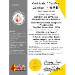 SIL 3 Certificate for ECF,SSF, and ECV Series Actuators