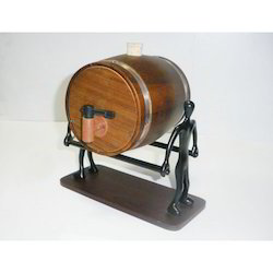 Teak Wooden Decanter With Silverman On Wooden Base