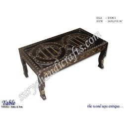 Wooden Table With Brass And Iron Work