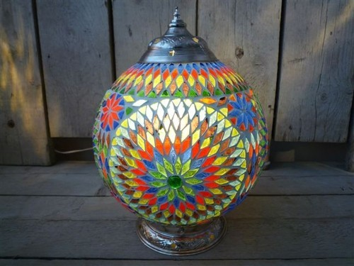 Glass table lamp and mosaic finish table lamp