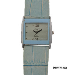 Ladies Sky Blue Leather Band Wrist Watch