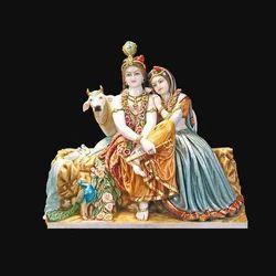 Exquisite Marble Radha Krishna Statue