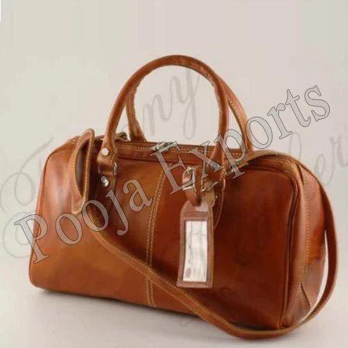 Pooja Exports Brown Leather Ladies Bag
