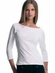 Female 3/4 Sleeve Boat Neck T-Shirt