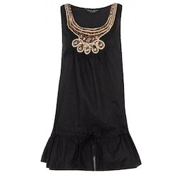 Cotton Sleeveless Embroidery Tops, Size: Medium