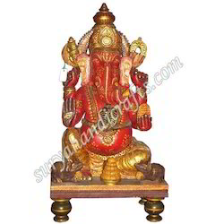 Wooden Meena Painting Chowki Ganesha