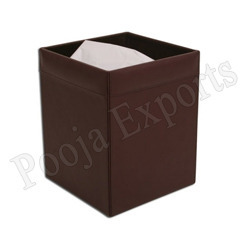 Pooja Exports Black And Brown Square Waste Basket, Size: 9'  X 4.5'  X 4' , Packaging Type: Box
