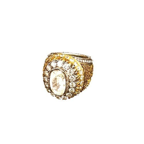 Stone Studded Gold Ring For Men Ashutosh Gems & Jewels