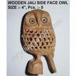 Wooden Side Face Jali Owl