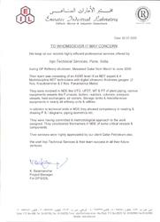 Certificate by EIL DUBAI