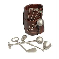 Leather Golf Bar Set In Semi Delux Box