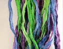 Loose Sari Silk Ribbon Yarns In Plain Colors