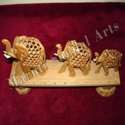 Sandalwood Undercut Elephant with Carved