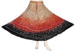 Long A-line Indian Bandhej Skirts, Size: Large