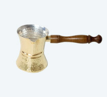 Coffee Warmer With Wooden Handle Brass & Copper Finish
