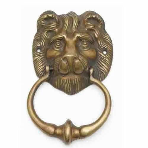 Hardware Brass Lion Face Door Knocker Handle Pull Knob