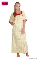 ICY Girls Knitted Cotton Printed Gowns, Size: S, M & L
