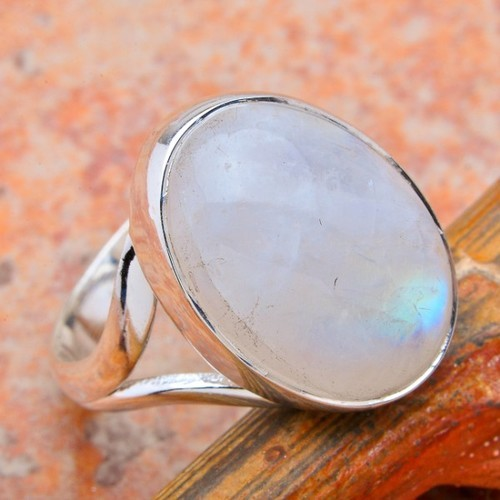 Silver Rainbow Moon Stone Ring And Silver Gemstone Jewelry