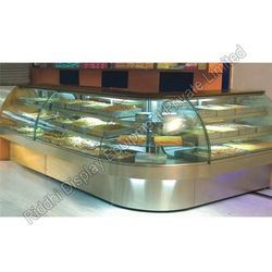 Stainless Steel, Glass Sweet Display Counter, Thickness: 1.5 Mm