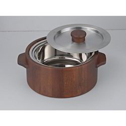 Teak Wood Casserole with Steel Inner And Lid
