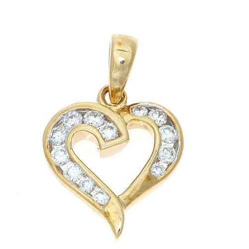 031ctw 14k yellow gold genuine diamond heart pendant 038 cts 031ctw 14k yellow gold genuine diamond heart pendant aloadofball Images