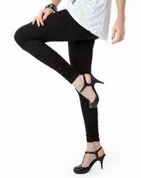 Straight Fit Plain Black Four Way Stretchable Ladies Legging