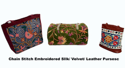 Chain Stitch Embroidered Silk, Velvet And Leather Purses