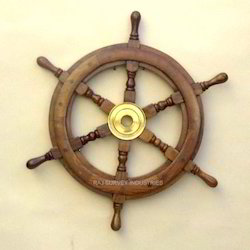 Vintage Wooden Ships Helm Wheel-brass Center-boat Nautical Decor-beautiful Wood Bright Luster Antiques