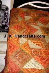 Embroidered Bedspreads,Mirror Work Bedspreads