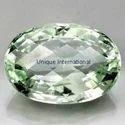Green Amethyst Oval Checker Cut Gemstone