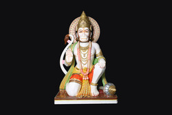 HU-0033 White Marble Hanuman Statue