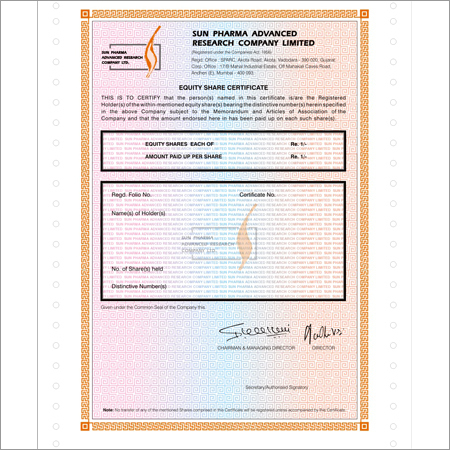 Stamping Of Share Certificates.  Company Share Certificates